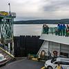 Aaron and Hannah watching people disembark at Shaw Island