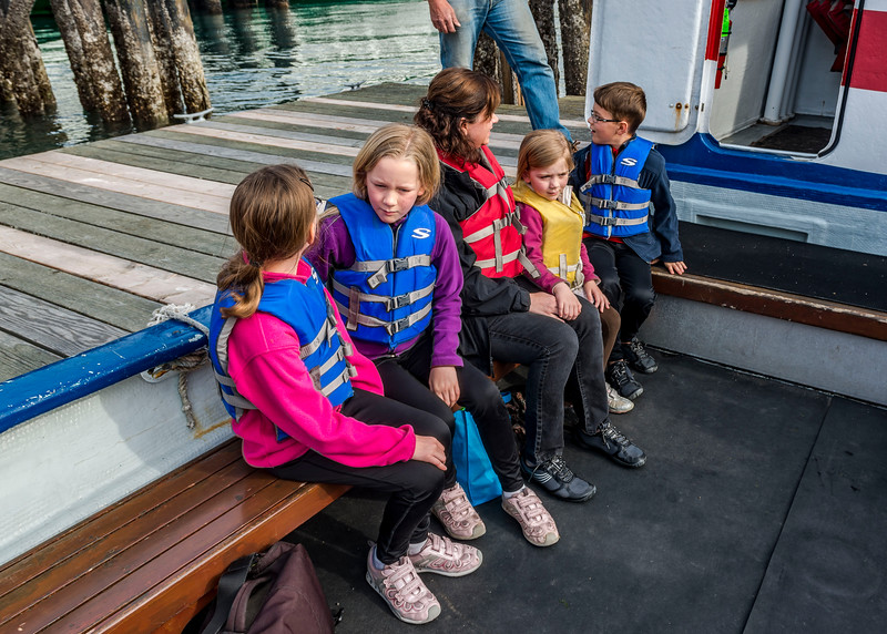 Kaitlyn, Hannah, Amanda, Ava and Aaron (left to right) on the landing craft that would take us from Orcas Island to Canoe Island