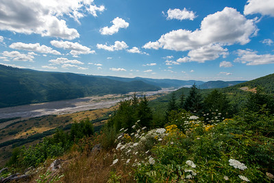 View west down the Toutle river from the Mt St Helens Forest Learning Center.