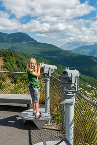 Hannah with a telescope at the Mt St Helens Forest Learning Center