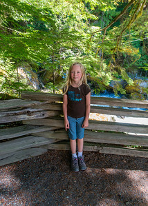 Hannah at Ladder Creek Falls by the Gorge Powerhouse.
