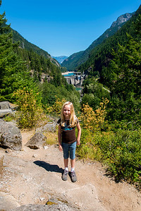 Hannah with the Gorge Dam in the background.