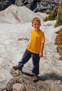 Aaron at the snow at the end of the Big Four ice caves trail.