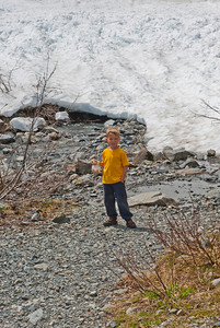 "Aaron with the only ""ice cave"" visible at the Big Four mountain ice caves.  (An unusually wet and cold spring delayed the melt and formation of ice caves.)"