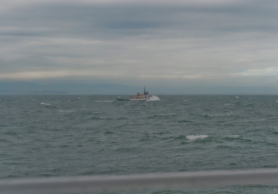 Passing a tugboat in heavy seas (around 4') where Admiralty Inlet meets the Strait of Juan de Fuca
