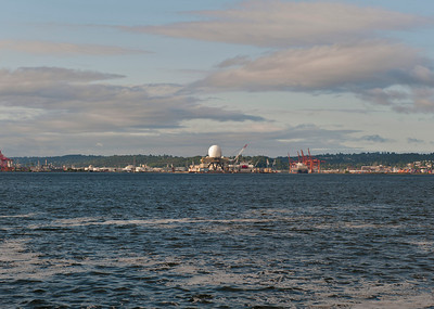 Sea-based radar being refitted at Vigor Shipyard in Seattle.
