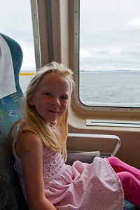 Hannah in her seat on the Clipper.