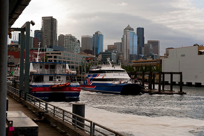 Two of the Victoria Clipper boats in downtown Seattle.  Ours was the one on the left.
