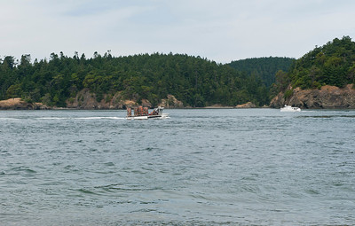 A crab boat entering Deception Pass