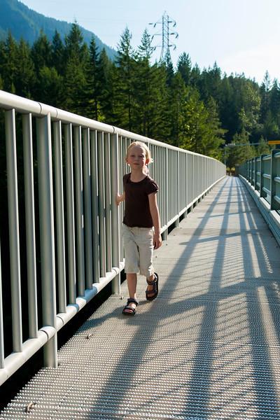 Hannah on a bridge on highway 20 near the Gorge Dam