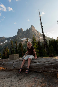 Hannah with Liberty Bell mountain near Washington Pass in the background.