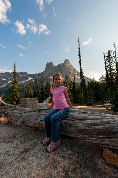 Kaitlyn with Liberty Bell mountain near Washington Pass in the background.