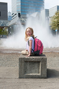 Hannah at the Salmon Street fountain.