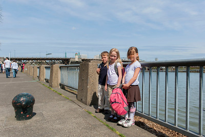 Aaron, Hannah and Kaitlyn at the Portland riverfront.