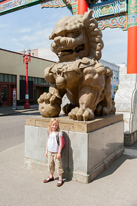 Hannah at the entrance to China Town in Portland.