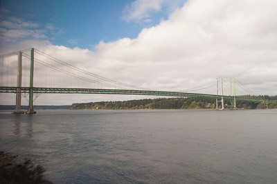Tacoma Narrows bridge as seen from the Coast Starlight.
