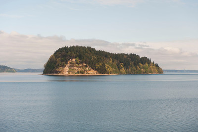 Scenery from the Coast Starlight: island in the Puget Sound