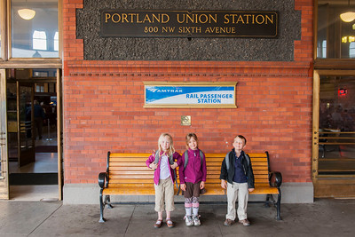 Hannah, Kaitlyn and Aaron at the train station in Portland.