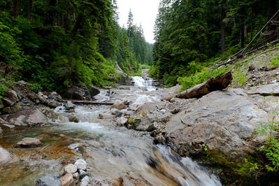 "Upstream from the ""water slide"" area of Denny Creek"