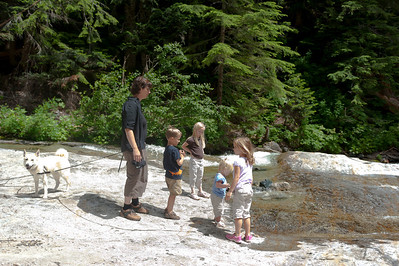 "Freya, Amanda, Aaron, Hannah, Ava and Kaitlyn exploring the ""water slide"" area on Denny Creek."