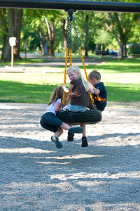 Aaron, Kaitlyn and Hannah at the Yakima Sportsman State Park playground.