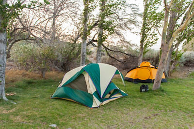 Stephen and Lou's tent in high winds...being held up by a series of dog leashes tied between trees and their tent.  We had sustained winds in the 25-30 MPH range with gusts to 50 MPH.
