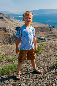 Aaron with the I-90 crossing of the Columbia River in the background.