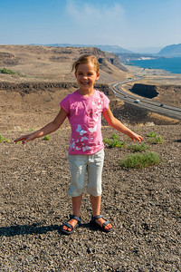 Kaitlyn with the I-90 crossing of the Columbia River in the background.