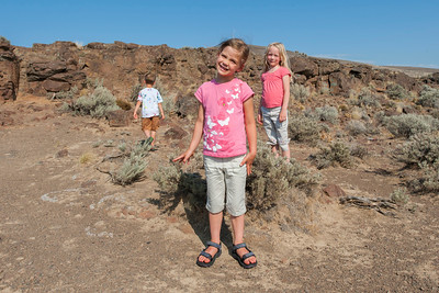Aaron, Kaitlyn and Hannah at an overlook over the Columbia River near Vantage, WA