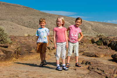 Aaron, Hannah and Kaitlyn at an overlook over the Columbia River near Vantage, WA.