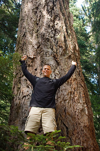 Dave in front of a huge old-growth Douglas Fir
