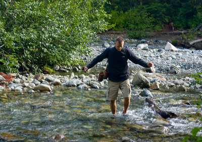 Dave crossing Lemah Creek.  Scene of our brilliant decision.  We brought aqua-socks with us to switch into to cross the creek. Then hid them under a bush to pick up on the way back and use again.  That water was the coldest thing I have ever felt on my legs..I was in incredible pain by the time I got across.