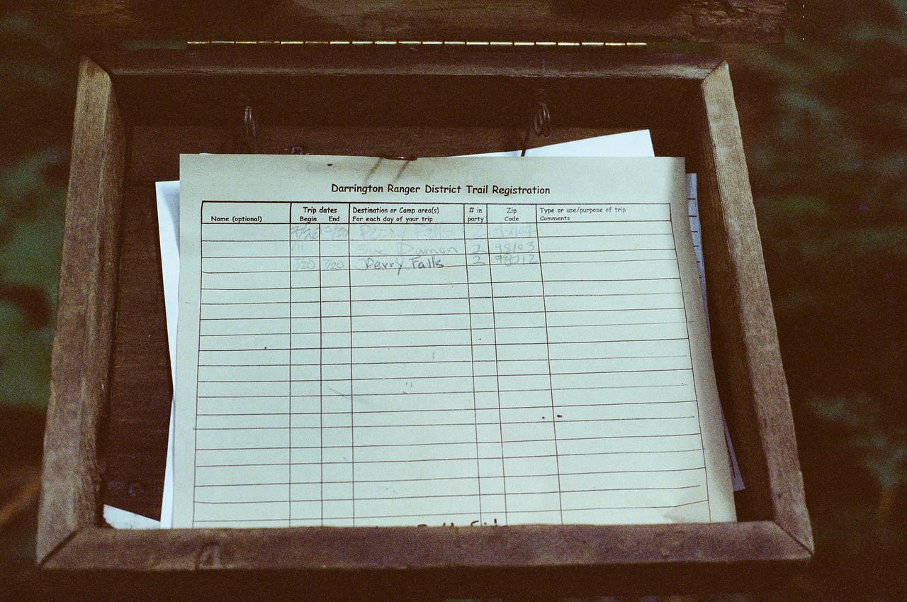 Perry Creek Trail registration sheet