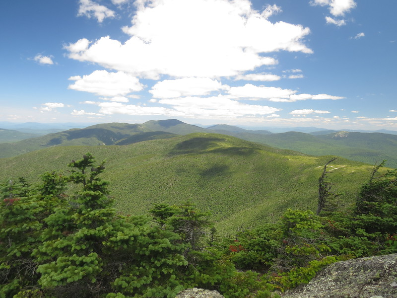 Front to back, Goose Eye north peak, my next stop, Mahoosuc, Fulling Mill, Mahoosuc Arm, Old Speck and the Baldpates