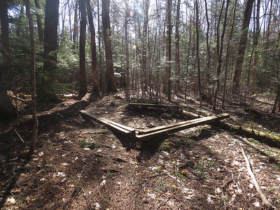 Illegal campsite near the old Franconia Shelter, apparently made FROM the Franconia Shelter!