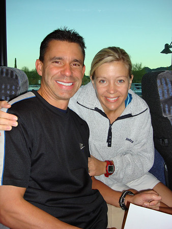 Forgive us but leaving the house at 6:15am for a 13 mile hike didn't warrant 'beautifying' ourselves up for the occasion!   Here we are aboard the bus that took us to the starting point (so our car would be at the finishing point).