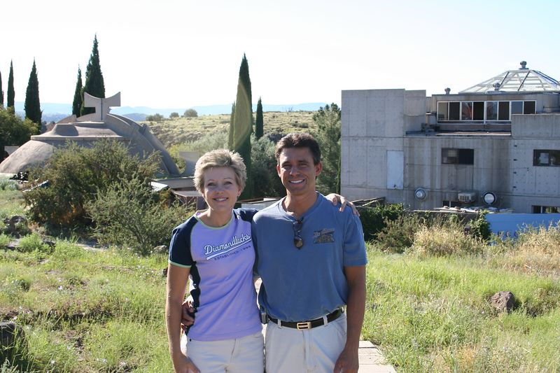 Cathy and I outside of Arcosanti - Italian architect who's vision is to build the city of the future.  Located between Phoenix and Sedona