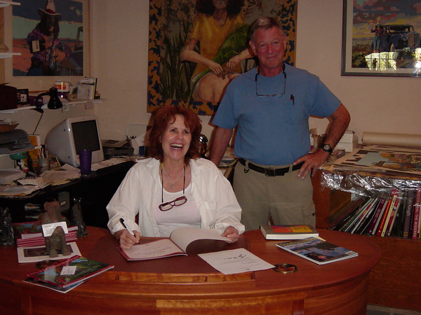 Anne (signing one of her books) and Covert Bailey prior to the hike