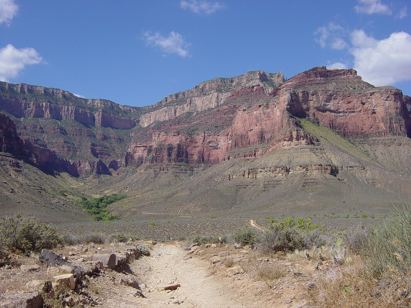 Walking from Plateau Point back to Indian Garden Campground (trees left of center), and then back to the rim