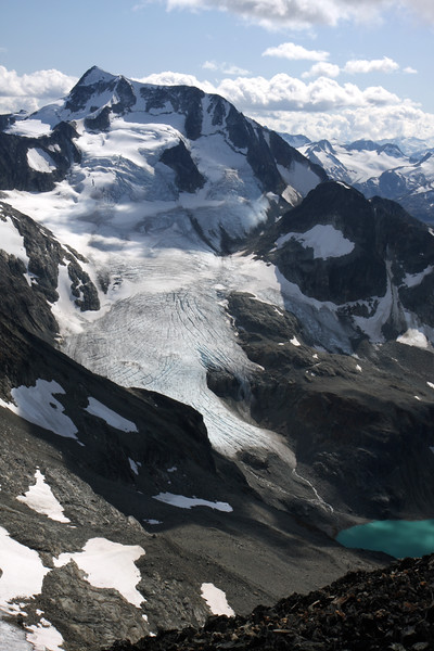 From the summit of Mt Cook, looking over at Wedge mountain, Wedge glacier and the very tip of Wedgemount Lake. Amazing that only 10-15 years ago, the glacier extended all the way down to the lake.