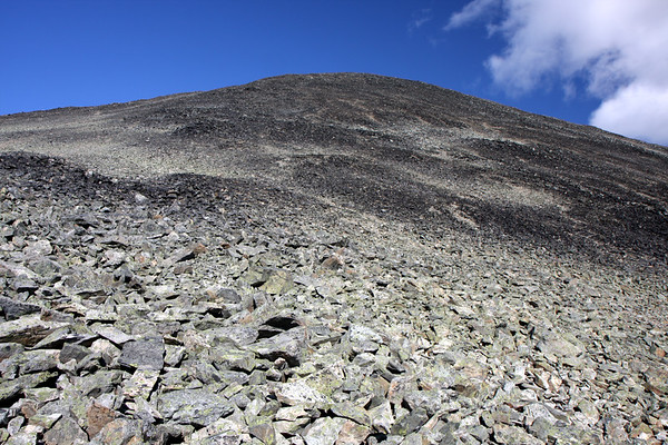 Looking up at the scree slopes that we were about to climb. This is one of many false summits that we found along the way. There's no real trail up here, so you just pick a line and go up.