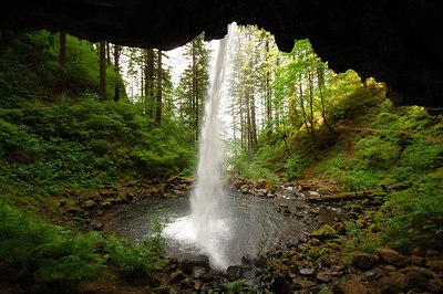 Directly behind Ponytail Falls