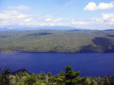 Katahdin is still cloudbound but the rest of the view from Nesuntabunt Mtn is nice