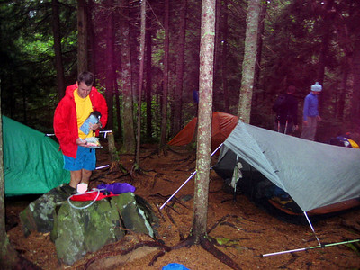 After 15.6 miles of hiking, Tramper Al, Mustardseed, Donkeysalt and I set up tents near Chairback Gap