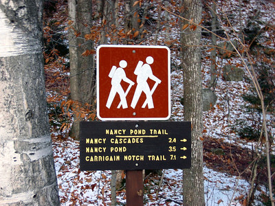 We took the Nancy Pond Trail to Norcross Pond and then followed a well-defined herd path to the summit of Mt. Nancy