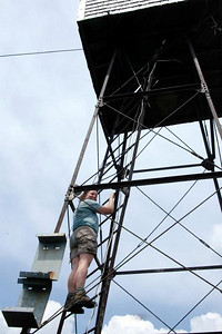 Me partway up the fire tower (photo courtesy of Bob Hayes)