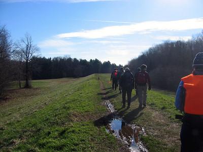 Walking along a water control dike