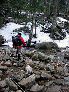 Rols crossing the brook to start our hike up the Falling Waters Trail