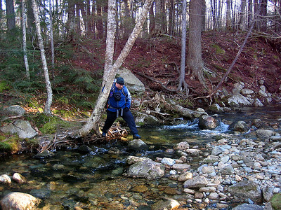 Dave M making his way across the first brook