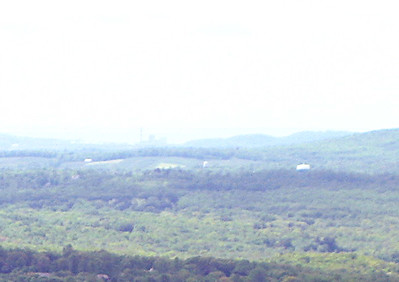 Here\'s a zoom.... Long Island Sound was just barely visible behind the buildings... we think.